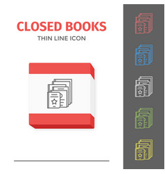 thin lined book icon vector image