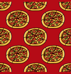 trendy pizza pattern with hand drawn pizza cute vector image