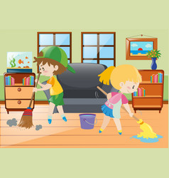 two kids mopping and sweeping floor vector image