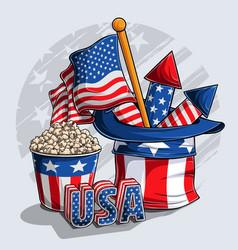 uncle sam hat fireworks and popcorn vector image