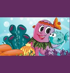 Underwater scene with octopus cartoon character vector