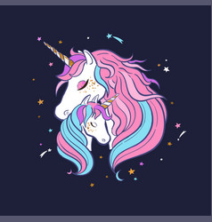 Unicorn family love magic dream 2 vector