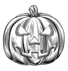 Vintage halloween pumpkin vector