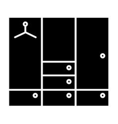 Wardrobe solid icon closet vector