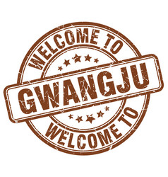 welcome to gwangju brown round vintage stamp vector image