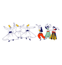 whirling dervish in traditional outfits and girls vector image