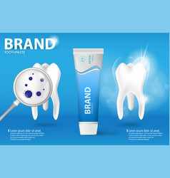 Whitening toothpaste ad realistic clean and dirty vector