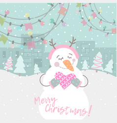 winter card with cartoon cute snowman vector image