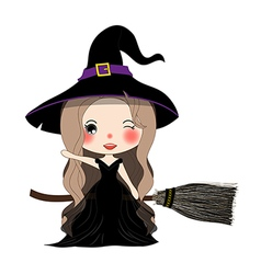 Witch with Hat Flying on Broom vector