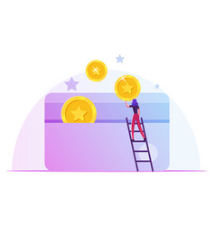 Woman stand on ladder put golden coins to plastic vector