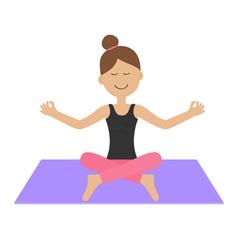 Young girl do yoga Cute cartoon woman character vector