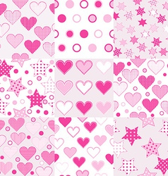 Baby girl seamless background patterns vector image vector image