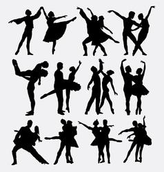 Ballet couple dance posing silhouette vector image