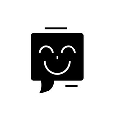 chat with smile icon black vector image vector image