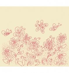 flowers and butterflies design vector image
