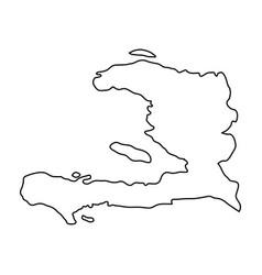 haiti map of black contour curves on white vector image