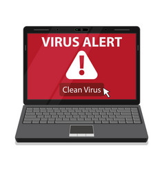 laptop and virus alert message on screen vector image