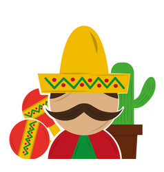 mexican man with mustache vector image vector image
