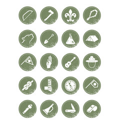 scouting icons vector image vector image