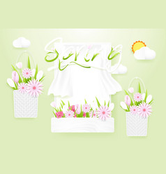spring season concept window with flowers baskets vector image
