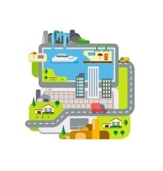 City Built Around Laptop vector image vector image