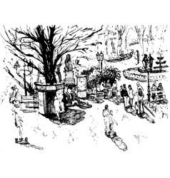 hand drawn ink line sketch european town vector image vector image