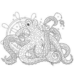 sea pirate octopus vector image vector image