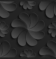 seamless pattern black 3d paper flower circle vector image vector image