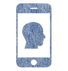 Smartphone contact human portrait fabric textured vector