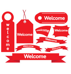 welcome sign paper tags vector image