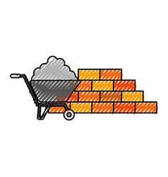 construction wall brick with wheelbarrow cement vector image