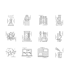 Linear icons collection for chemistry vector image vector image