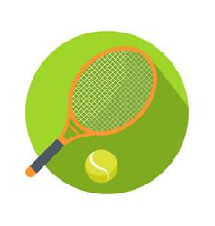 racket and ball icon logo for tennis web button vector image vector image