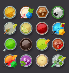 alcohol beverage and cocktail icon set vector image