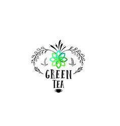 badge as part of the design - green tea sticker vector image