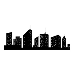 Cities Silhouette Black City Icon on white vector image
