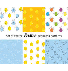 set of easter seamless patterns vector image vector image