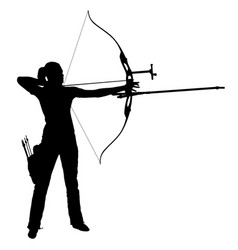 silhouette attractive female archer bending a bow vector image