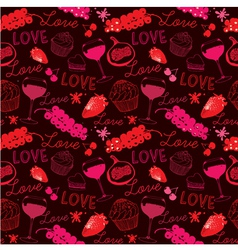 Vintage Love Food Pattern vector image vector image