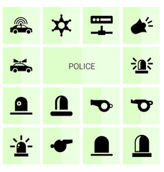 14 police icons vector