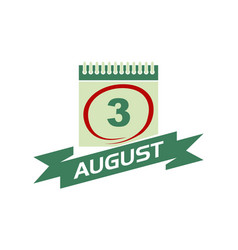 3 august calendar with ribbon vector