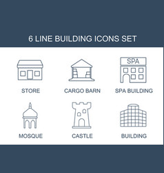 6 building icons vector
