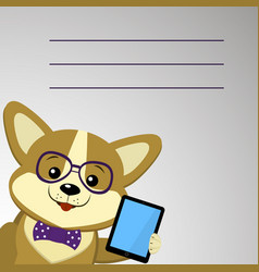 a cute dog corgi with glasses and a bow tie is vector image