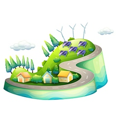 A full view of city with windmills vector