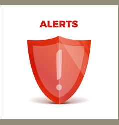 Alerts concept 3d shield protected guard vector