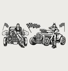 american custom retro cars vintage concept vector image