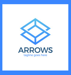 arrow rhomb line logo infinity cube vector image