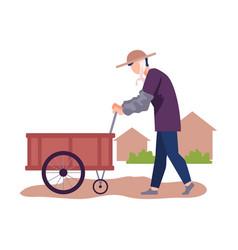 Asian male farmer pushing hand barrow or handcart vector