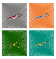Assembly flat shading style mantis vector