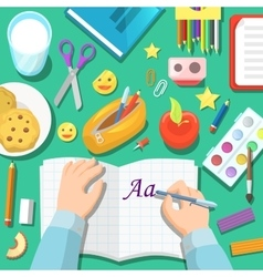 Back to school children table with notepad vector